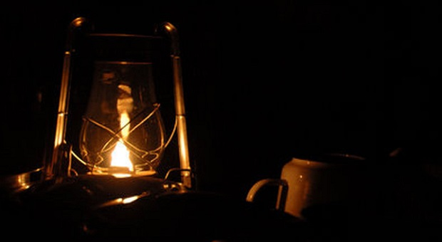 Oil lamp burning in the dark
