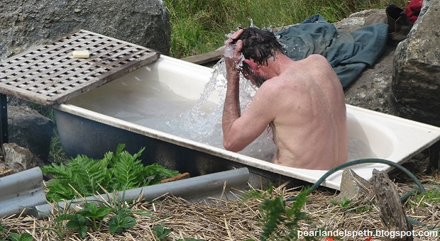 Man Having An Off Grid Bath Living ...