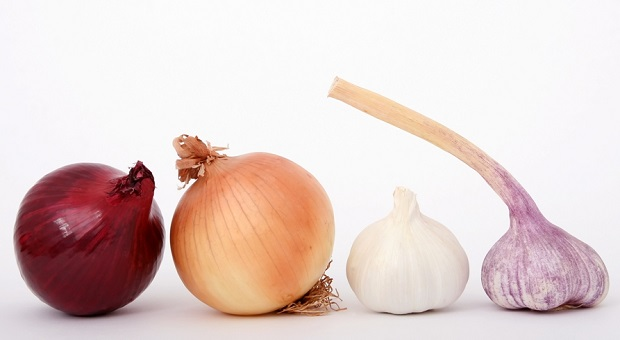 red and yellow onion, garlic on white background