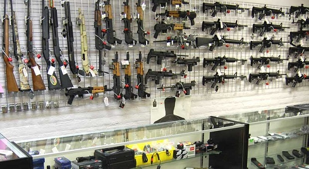 Rifles displayed on gun shop wall