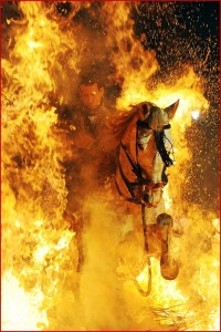 horse going through fire