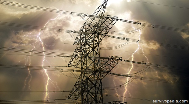 electric pole with thunders on the background