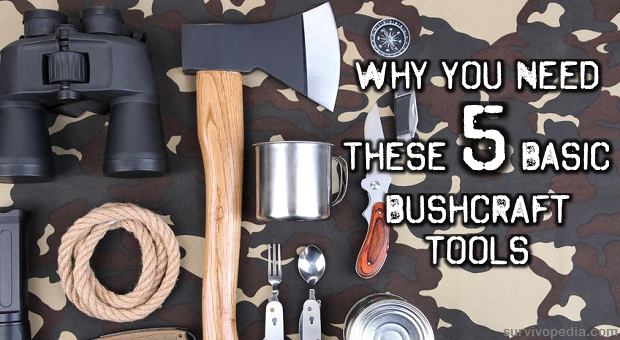 Bushcraft tools on camouflage background