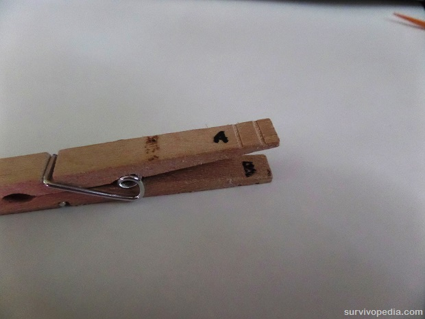 Label each of the back wings of the clothespin