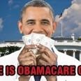 Obama dressed as a doctor holding dollar bills