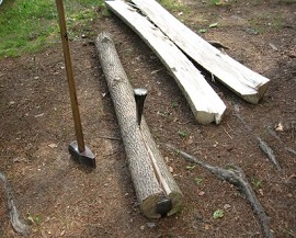 Log split lengthwise