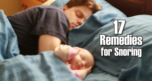 Snoring man sleeping with baby