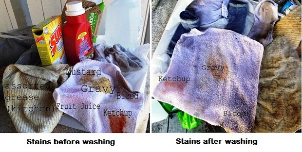 stained laundry and detergent