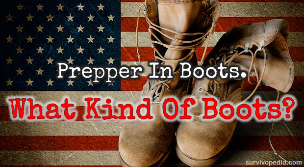 Leather boots on american flag
