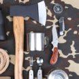 Bushcraft tools on camouflage background