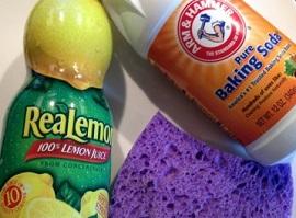 Lemon juice and backing soda bottles