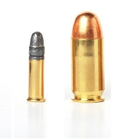 bullet- ammo size compare, isolated white.