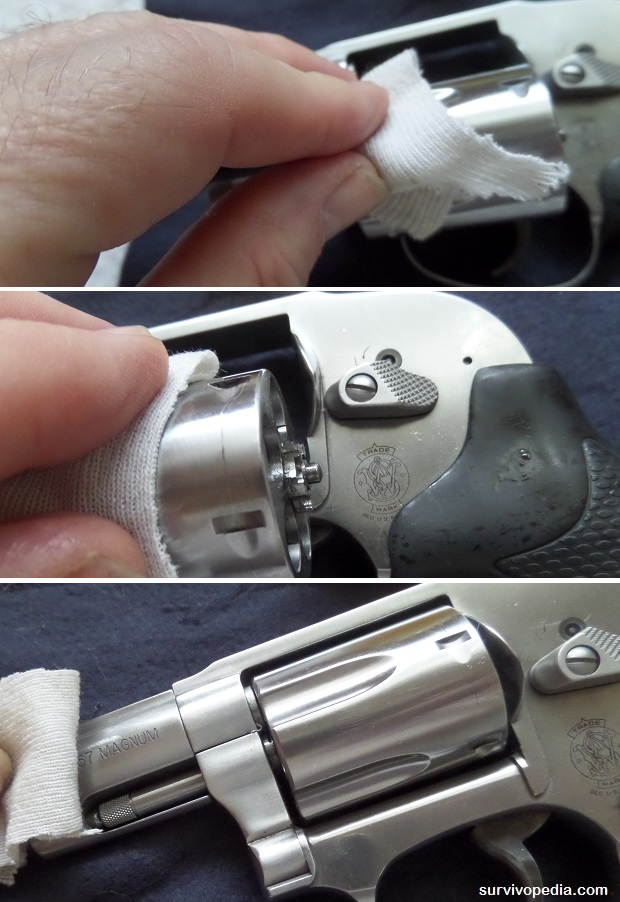 Wipe down the outside of the revolver with a good quality firearms lubricant
