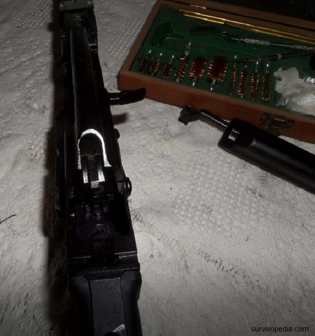 Pull the bolt carrier assembly all the way back to the rear of the receiver
