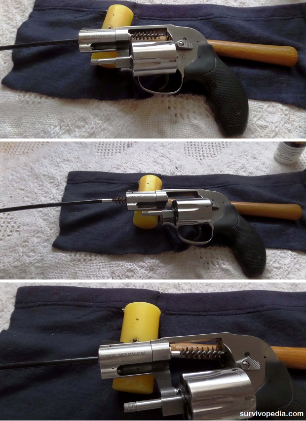 cleaning revolver with cleaning rod and brush