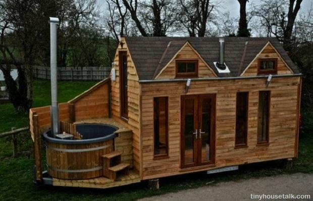 Hot tub tiny house