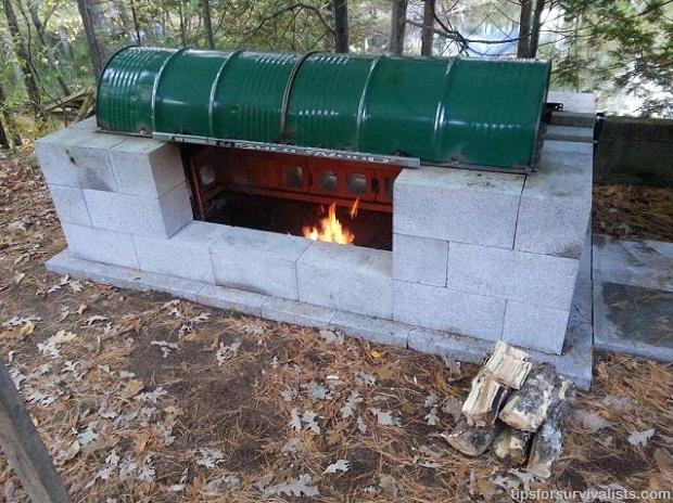 Cinder Block BBQ Rotisserie Pit