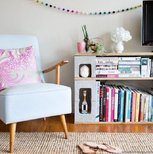 Cinder Block Bookshelf