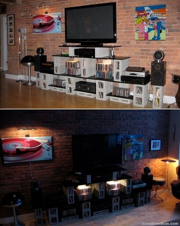 cinder block entertainment center