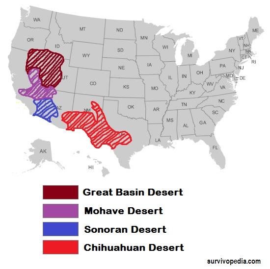 The North American Deserts DesertUSA American Deserts Tidal Wave - Map of deserts in the us