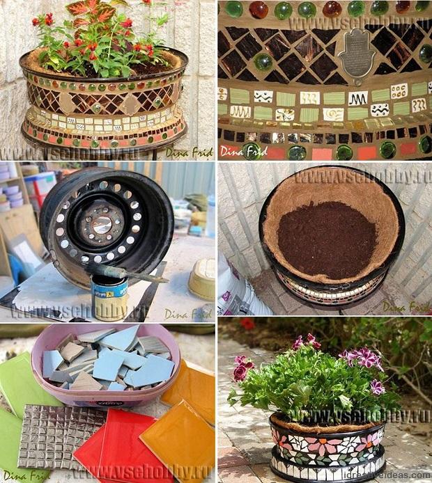 Old Wheel Flower Pot