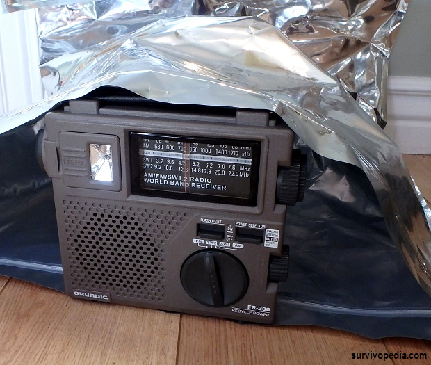 Radio 3 - Turned of and stowed in a Faraday bag or non-conductive lining and stored in a Faraday cage