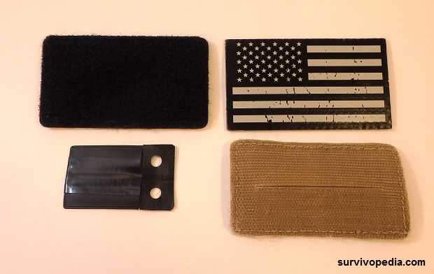 SS Restraint Escape Module pouch shown with Velcro Stash Patch and Flag patch