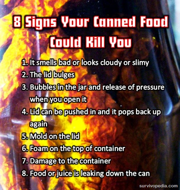8 signs of canned food