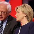 55407405 - las vegas, nv - october 13 2015: cnn democratic presidential debate features candidates sen. bernie sanders, hillary clinton at wynn las vegas.