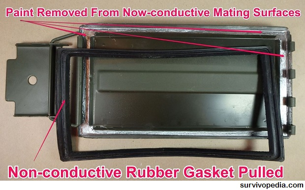 non-conductive-rubber-gasket-pulled-from-ammo-can-lid-paint-removed-from-now-conductive-mating-surfaces