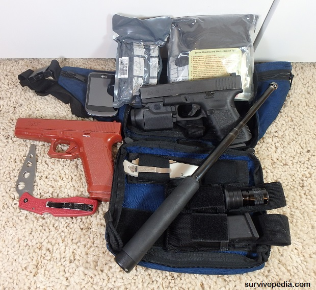 Self Defense Pouch Contents & Training Gear for Drill with Hand to Hand